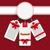 Άσπρες διακοσμήσεις αυτοκόλλητων ετικεττών τιμών Χριστουγέννων εμβλημάτων Στοκ Εικόνες