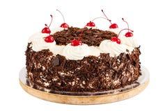 Μαύρο δασικό κέικ που διακοσμείται με την κτυπημένα κρέμα και τα κεράσια Στοκ εικόνα με δικαίωμα ελεύθερης χρήσης