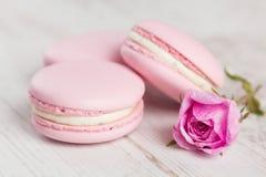 粉红彩笔蛋白杏仁饼干与上升了,色的柔和的淡色彩 免版税库存照片