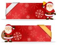 Красные знамена рождества с Санта Клаусом Стоковое Изображение RF