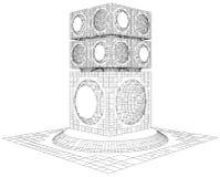 未来派特大的城市城市摩天大楼结构传染媒介 免版税库存照片