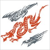 Драконы для татуировки вектор комплекта сердец шаржа приполюсный Стоковая Фотография RF