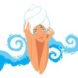 蒸汽浴的女孩 免版税库存照片