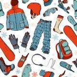 冬天极端体育的无缝的样式 库存照片