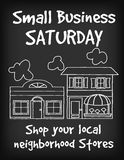 标志,小企业星期六粉笔板 免版税库存图片