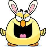 邪恶的动画片复活节兔子小鸡 免版税库存照片