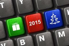 与圣诞节关键字的计算机键盘 库存图片