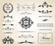 Границы орнамента винтажного вектора декоративные и рассекатели страницы Стоковые Изображения
