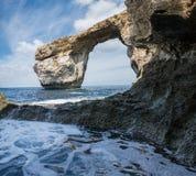 天蓝色的窗口戈佐岛,马耳他 免版税库存图片