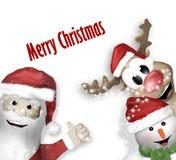 圣诞老人驯鹿雪人 免版税库存图片