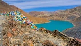 Панорамный взгляд озера Тибет Стоковые Изображения RF