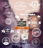咖啡商标 老镇邮票概念 传染媒介减速火箭的咖啡徽章和标签 图库摄影