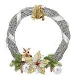 在白色背景隔绝的银色圣诞节花圈 库存照片