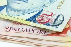 宏观新加坡元钞票 免版税库存图片