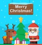 圣诞老人和驯鹿圣诞节例证 免版税库存照片