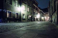 老镇的街道在华沙 免版税库存照片