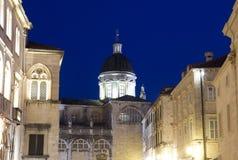 Дубровник, Хорватия, взгляд ночи Стоковые Изображения RF
