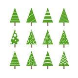 摘要被装饰的圣诞树收藏 免版税库存图片