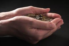 деньги пригорошни Стоковые Фото