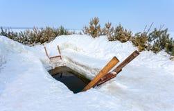 冬天游泳的冰孔 免版税库存照片