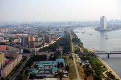 城市的鸟瞰图,平壤,北朝鲜 库存照片