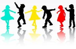 Σκιαγραφίες παιδιών Στοκ φωτογραφίες με δικαίωμα ελεύθερης χρήσης