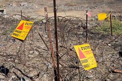 Προειδοποιητικά σημάδια με τα ορυχεία κινδύνου Στοκ Εικόνα