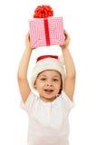 把男孩圣诞节礼品装箱 查出在白色 免版税库存图片