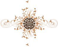 Символ двойного счастья на флористической изолированной предпосылке Стоковые Фото