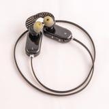 Ασύρματα ακουστικά που κυλιούνται επάνω Στοκ Εικόνες