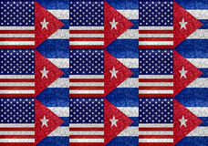 美国和古巴旗子团结的样式 库存图片
