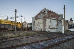 在哈尔登驻地的老无盖货车摊位 免版税库存照片