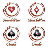 Комплект значков покера с символом играя карточки на белой предпосылке Стоковые Фото