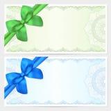 礼券,证件,与弓的优惠券模板 免版税库存图片