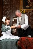 茶时间维多利亚女王时代的著名人物 免版税库存图片