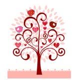 Δέντρο σπειρών με τις καρδιές πουλιών φύλλων Στοκ φωτογραφία με δικαίωμα ελεύθερης χρήσης