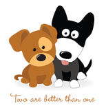 Καλύτεροι φίλοι - δύο κουτάβια Στοκ Εικόνες