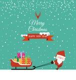 与圣诞老人和礼物的抽象圣诞节在雪撬 免版税图库摄影