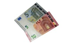 新的五个和十个欧洲钞票欧罗巴系列 免版税库存照片