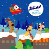 圣诞快乐文本圣诞老人礼物狗乐趣享受动画片传染媒介 免版税库存照片