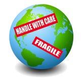 地球标记警告 免版税库存图片