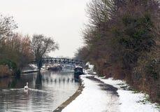 由运河的冬天 免版税库存照片