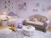 女孩经典之作样式的儿童居室 免版税库存图片
