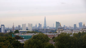 Панорама города Лондона от холма Гринвича Стоковое фото RF