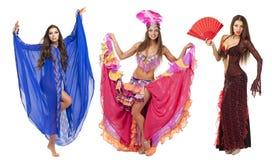 美丽的狂欢节舞蹈家,惊人的服装 免版税库存图片