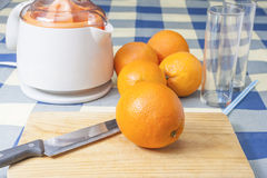 做桔子的汁液 免版税库存照片