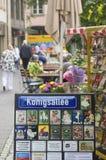 街道名字签到杜塞尔多夫,德国 免版税图库摄影