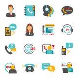 Εικονίδια τηλεφωνικών κέντρων επαφών υποστήριξης καθορισμένα Στοκ Εικόνα
