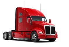 被隔绝的红色重型卡车 图库摄影