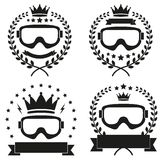 套葡萄酒冰雪板运动或滑雪俱乐部徽章 免版税库存图片